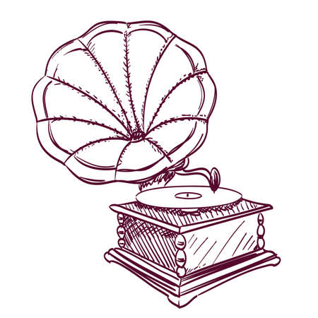 phonograph hand drawn on white Vector