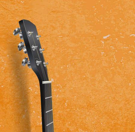 ギターのネックをグランジ背景