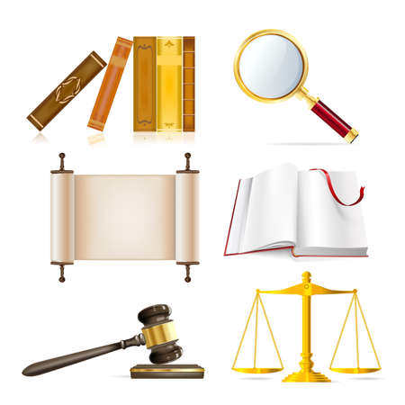 justiz: Satz von realistischen Gerechtigkeit Objekte Illustration