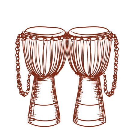 hand drawn african wooden djembe drum Vector