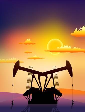 middle east crisis: petrol pomps on sunset landscape