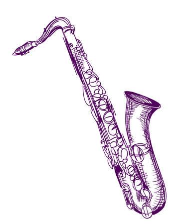 alto: hand drawn classical alto saxophone Illustration