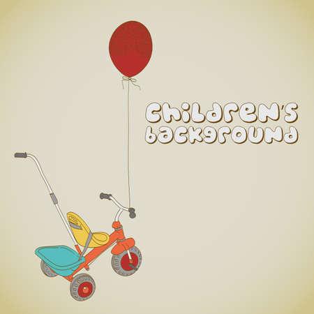 driewieler: Kid's driewieler en ballon achtergrond