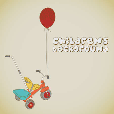 tricycle: Kids tricycle and balloon background
