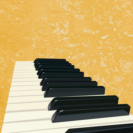 old piano: grunge music background with piano keys Illustration