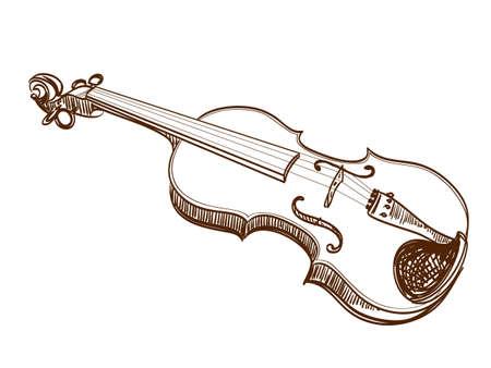 hand drawn violin on white