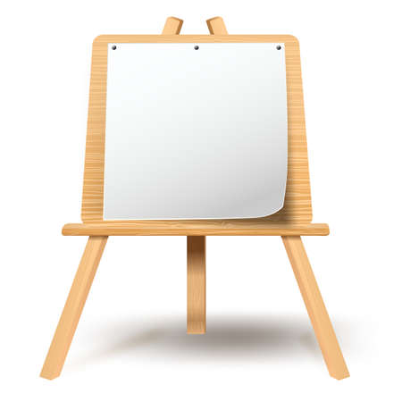 Wooden easel with blank paper canvas Vector