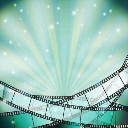 背景とレトロなフィルム ストリップと星