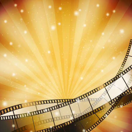 film star: background with retro filmstrip and stars