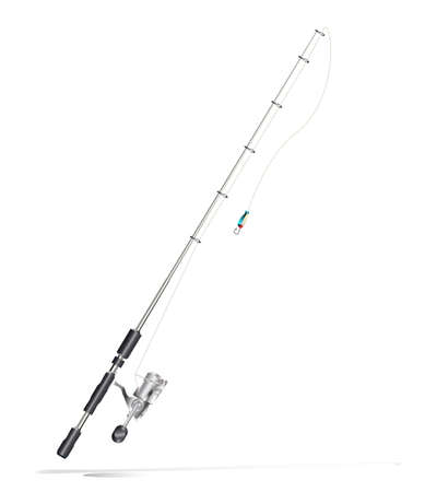 spinning reel: fishing rod on white
