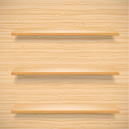 forepart: wooden shelves on wooden background