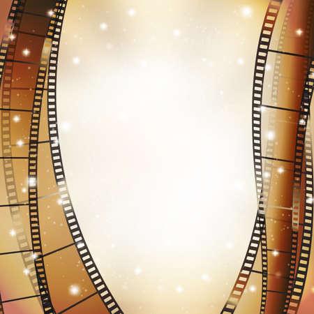 映画館の背景にレトロな写真、垂直方向の罫線として星  イラスト・ベクター素材