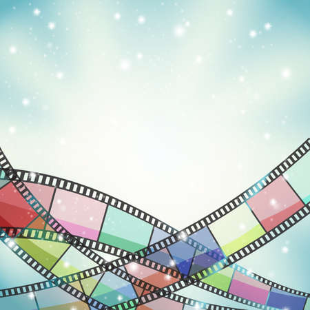background with color filmstrip and stars Illustration