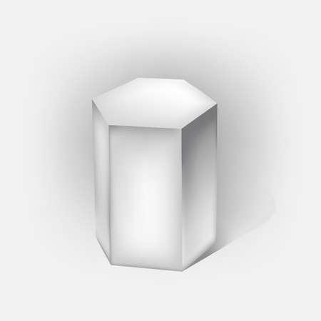 prism: white hexagonal prism on white Illustration