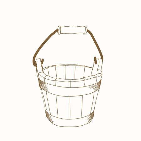 rural wooden bucket: hand drawn wooden bucket Illustration