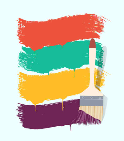 redecorate: paint brush with color banners Illustration