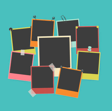 photoframe: photo frames on retro background
