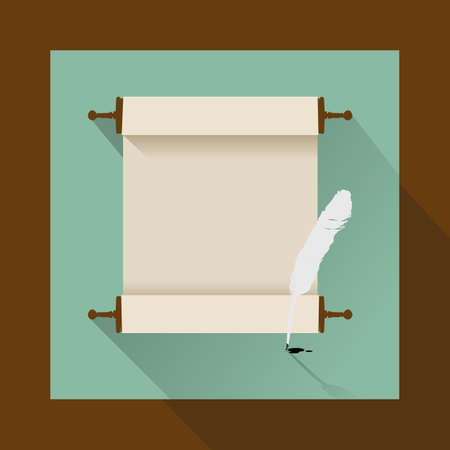 feather and ancient scroll on white Illustration