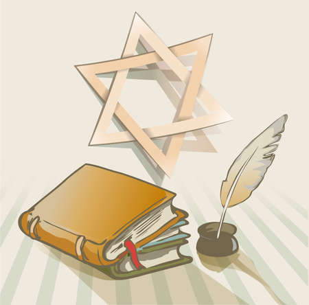 megillah: old books a feather and star of David