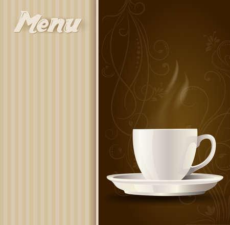 コーヒーカップ: メニューの背景にコーヒー カップ