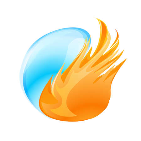 fire water: abstract fire and water symbol on white Illustration
