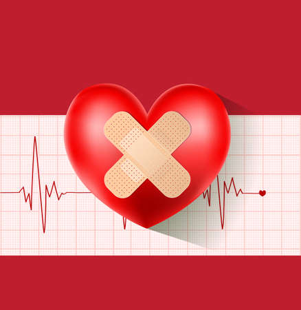 adhesive plaster: heart with plaster on cardiogram