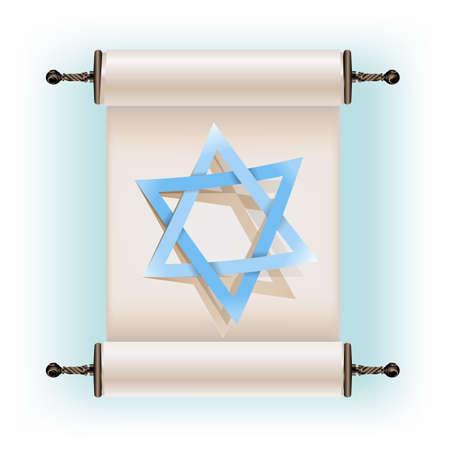 testaments: Star of David sign and ancient scroll