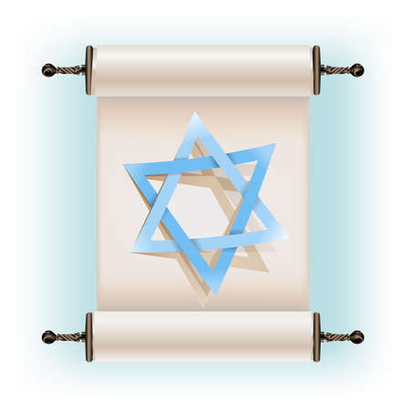 Star of David sign and ancient scroll