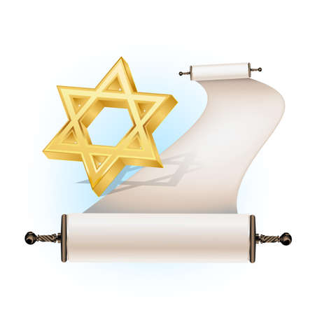 Star of David and ancient scroll Vector