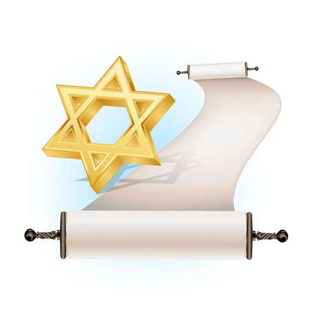 sabbath: Star of David and ancient scroll