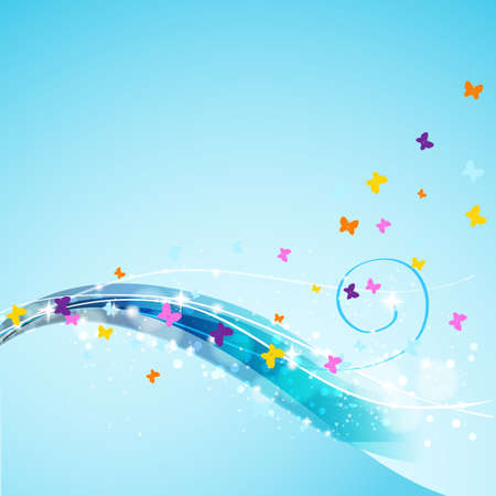 butterflies flying: butterflies flying on abstract flowing background Illustration