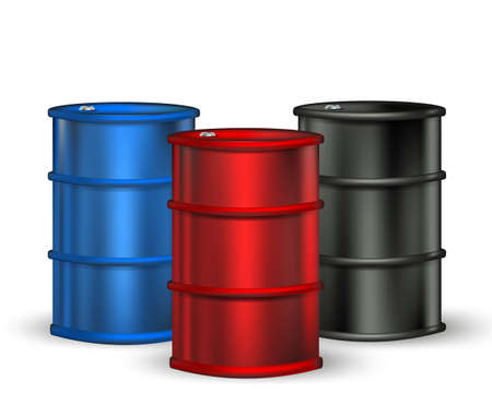 combust: blue, red and black petrol barrel on white Illustration