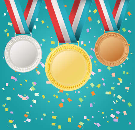 gold record: set of medals on confetti background Illustration