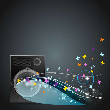 acoustic systems: speaker with flying butterflies and color rays