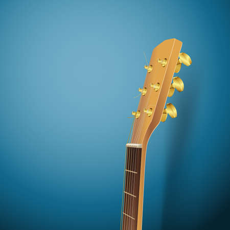 青色の背景にアコースティック ギター ヘッド