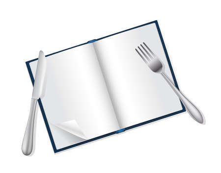 appetite: open book, fork and knife reading and food concept Illustration