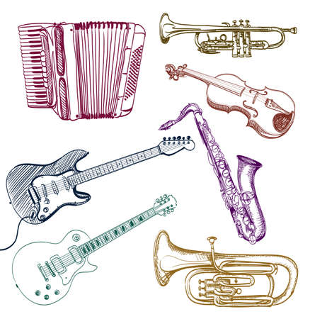 fiddlestick: set of musical instruments drawings. vector illustration Illustration