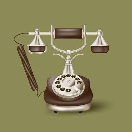 Vintage telephone on green Illustration