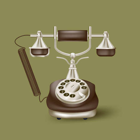 vintage telephone: Vintage telephone on green Illustration