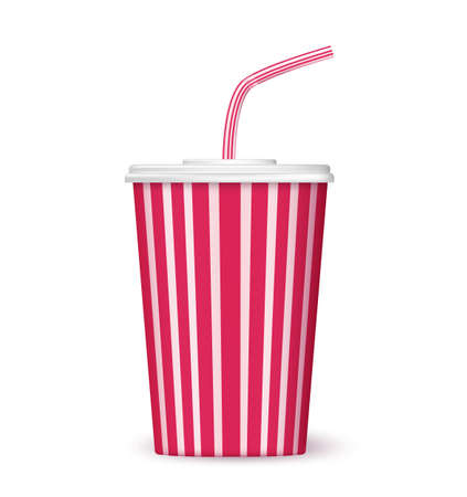 soda pop: paper cup of drink to go on white