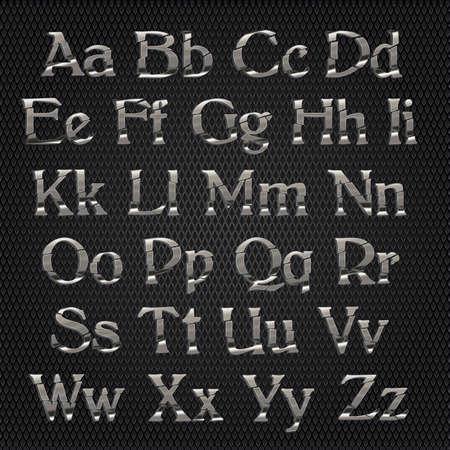 chrome alphabet: Chrome alphabet on metallic grid background Illustration