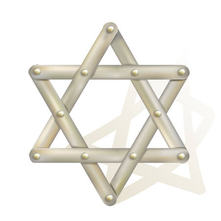 jewish star: metallic star of David as symbol of judaism