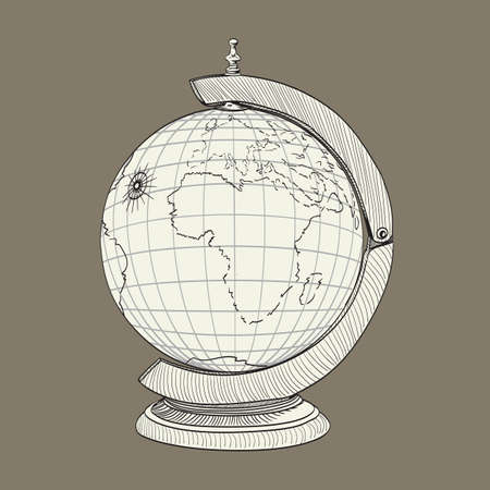 geographical: ancient geographical globe illustration Illustration