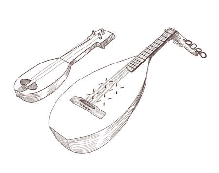 moldovan: cobza musical stringed instruments drawing