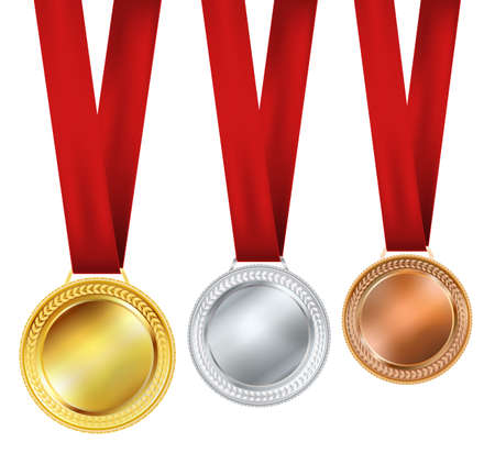 gold record: set of medals on white backgorund