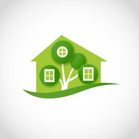 rural house: eco house symbol