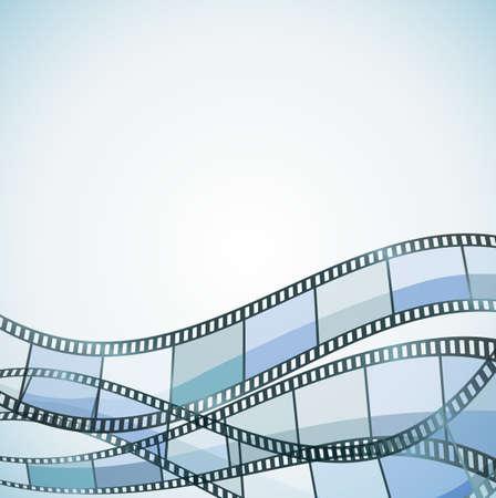 파란색 필름과 컬러 필름 스트립 일러스트