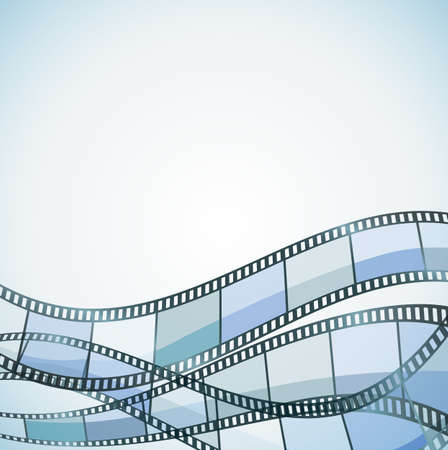 video reel: blue background with color filmstrip