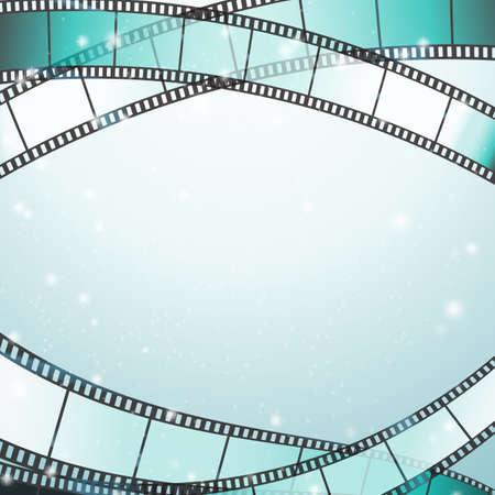 映画の背景にレトロな写真、ボーダーとして星