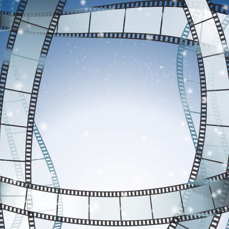 roll film: cinema background with retro filmstrip and stars as borders